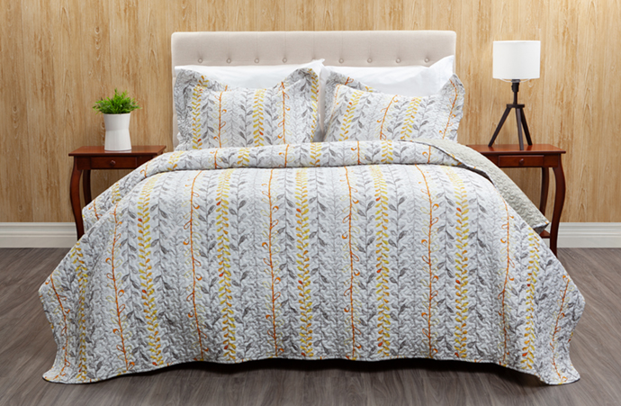 Leno Coverlet Set styled on a double bed