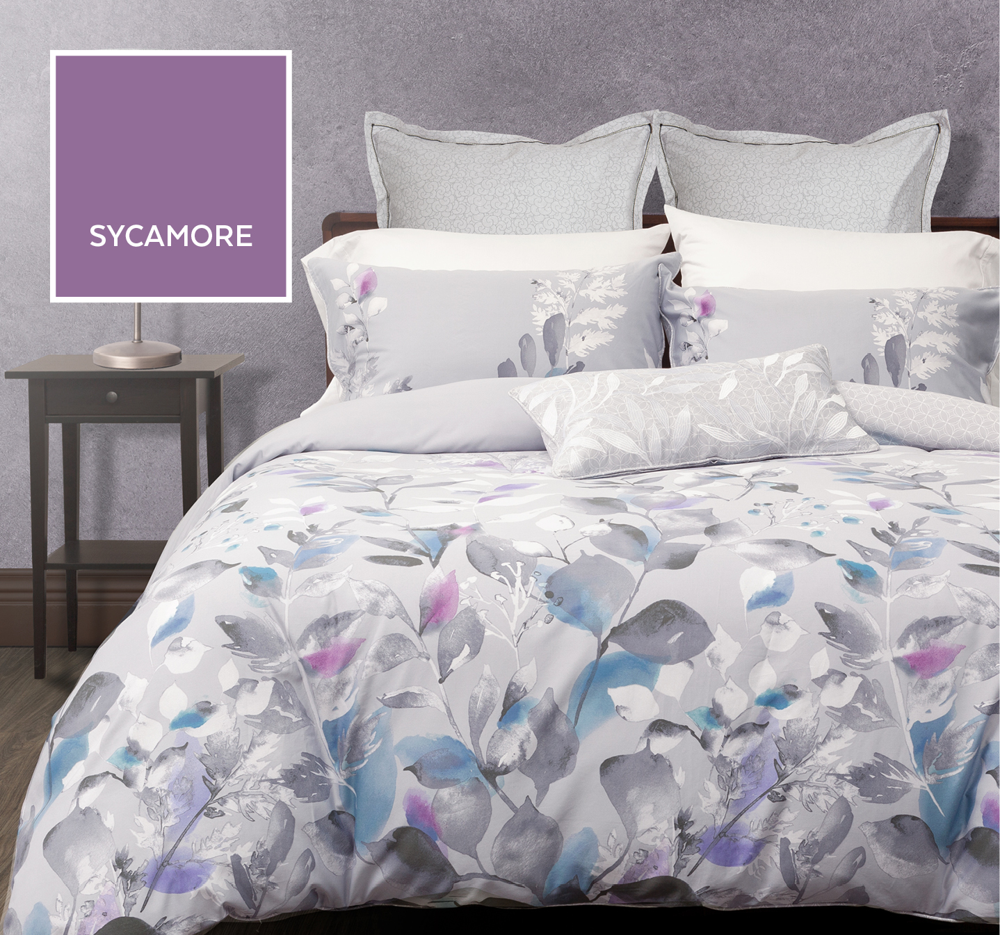 Sycamore Duvet Cover With Purple Accents