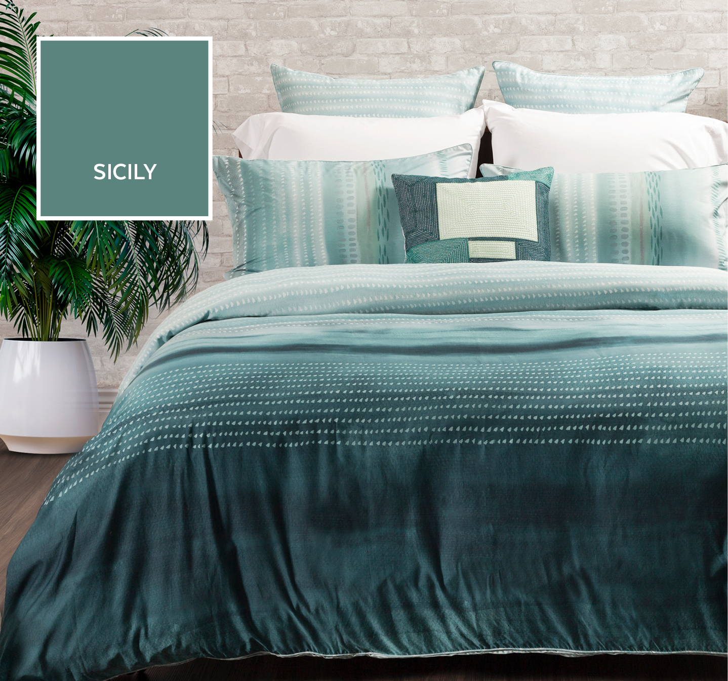 Sicily Green and Teal Duvet Cover