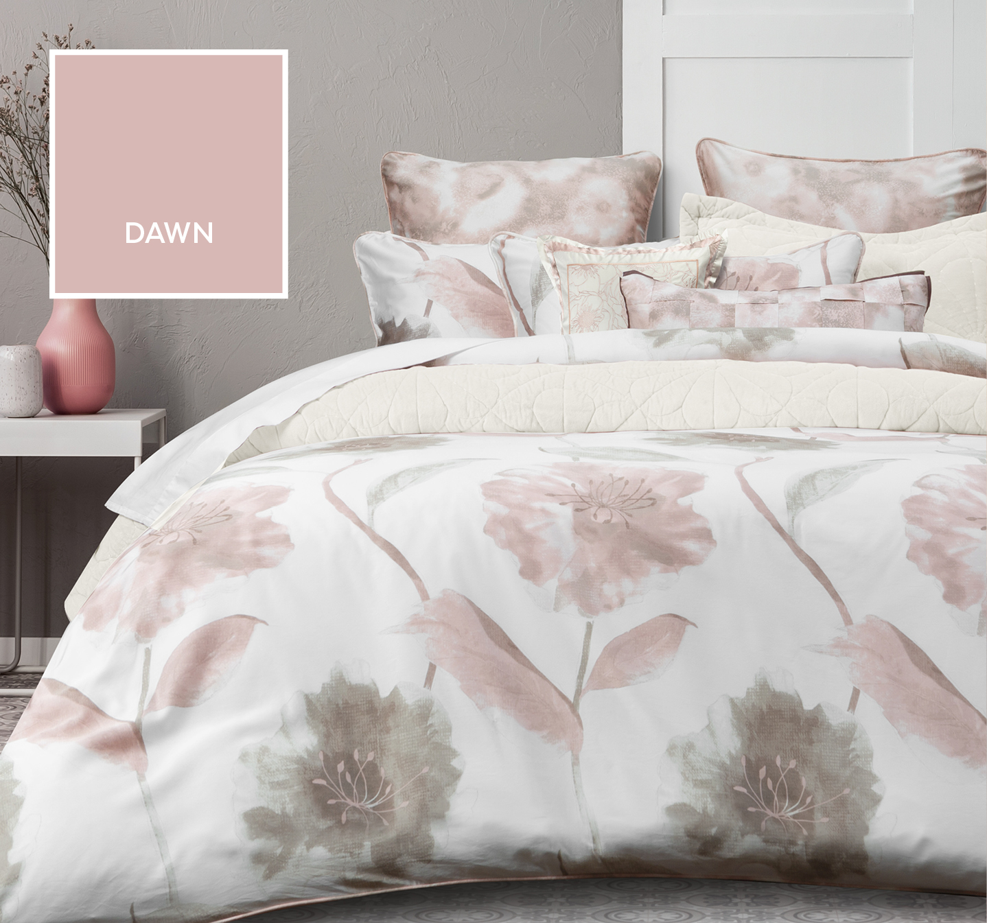 Dawn Duvet Cover with Pink Blooms